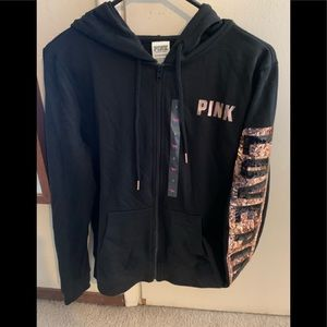 PINK Perfect Zip Sequin Bling S fits M (NWT)